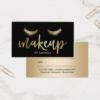 Makeup Artist Gold Lashes Modern Salon Appointment Business Card
