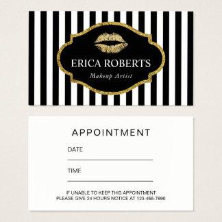 Makeup Artist Gold Lips Modern Stripes Appointment Business Card
