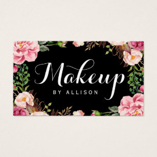 Business cards business card printing zazzle nz makeup artist modern script girly floral wrapping business card reheart Gallery