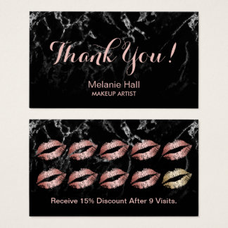 Makeup Artist Rose Gold Lips Marble Loyalty Punch Business Card