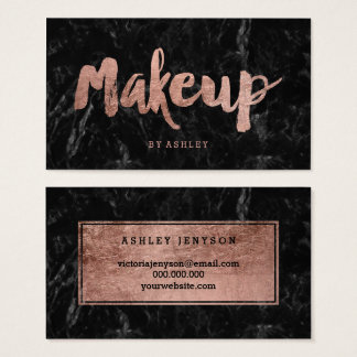 Makeup artist rose gold typography black marble business card