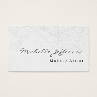 Makeup Artist Script Grey Pattern Business Card