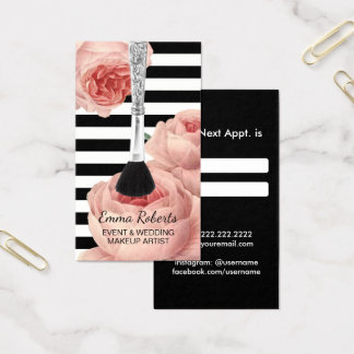 Makeup Artist Silver Brush Floral Appointment Business Card