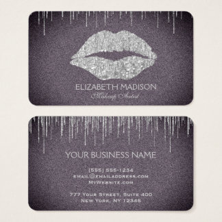 Makeup Artist Silver Glitter Lips with Purple Business Card