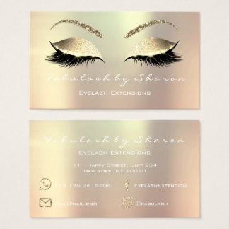 Makeup Eyebrow Lashes Glitter Pink Rose White Lux Business Card
