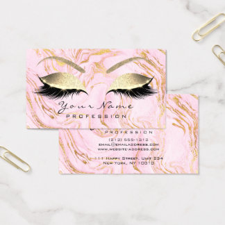 Makeup Eyebrow Lashes Glitter Rose Gold Marble Pin Business Card