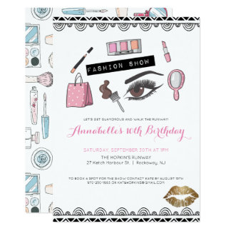 Makeup/Fashion Show Party Invitation