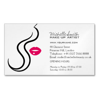Makeup Icon Woman face in black white pink lips Magnetic Business Card