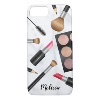 Makeup Items Illustration With Custom Name iPhone 8/7 Case