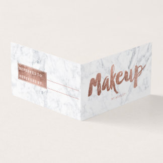 Makeup referral modern rose gold typography marble business card