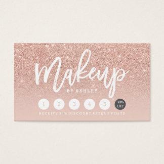 Makeup typography blush rose gold punch card