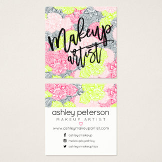 Makeup typography neon floral mandala pink yellow square business card
