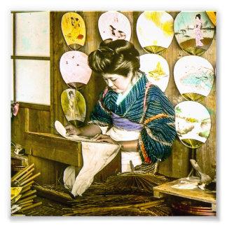 Making Paper Fans in Old Japan Vintage Uchiwa Photo Art