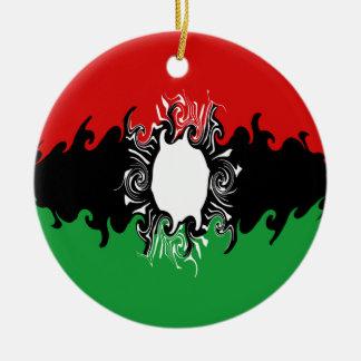Malawi Gnarly Flag Round Ceramic Decoration