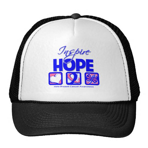 Male Breast Cancer Inspire Hope Trucker Hats