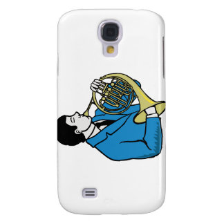 Male French Horn Player Blue Suit Galaxy S4 Cases