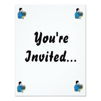 """Male French Horn Player Blue Suit 4.25"""" X 5.5"""" Invitation Card"""