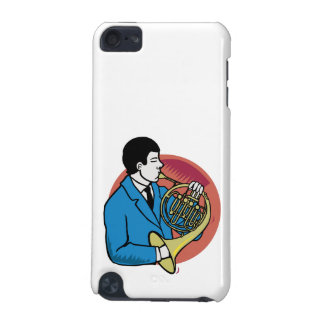 Male French Horn Player Blue Suit Pink Background iPod Touch (5th Generation) Cover