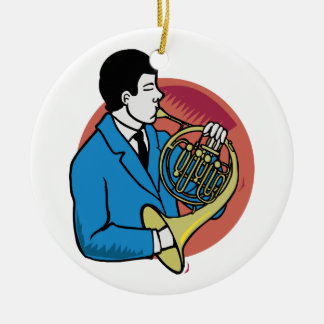 Male French Horn Player Blue Suit Pink Background Christmas Ornament