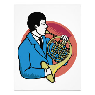 Male French Horn Player Blue Suit Pink Background Personalized Invitations