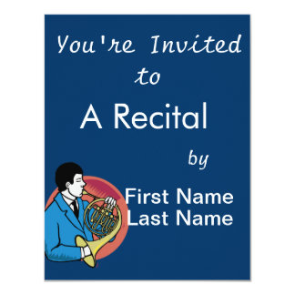 """Male French Horn Player Blue Suit Pink Background 4.25"""" X 5.5"""" Invitation Card"""