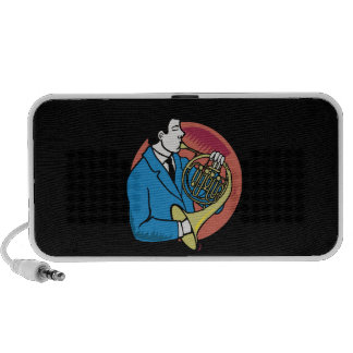 Male French Horn Player Blue Suit Pink Background Laptop Speakers