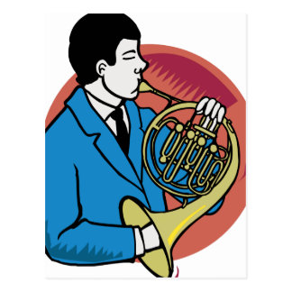 Male French Horn Player Blue Suit Pink Background Postcards