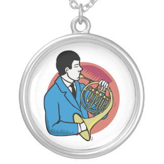 Male French Horn Player Blue Suit Pink Background Round Pendant Necklace