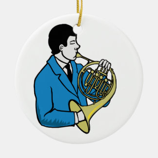 Male French Horn Player Blue Suit Round Ceramic Decoration