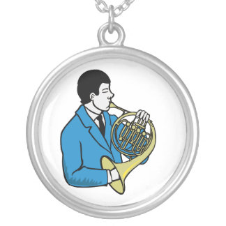 Male French Horn Player Blue Suit Round Pendant Necklace