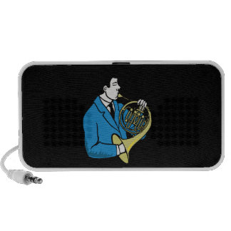 Male French Horn Player Blue Suit Mini Speaker