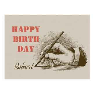 Male hand holding a fountain pen CC0820 Birthday Postcard