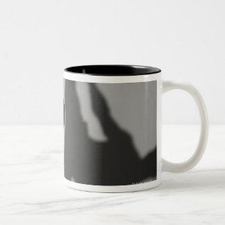 Male martial artist performing kick, studio shot Two-Tone coffee mug