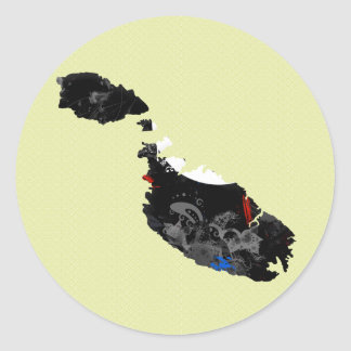 Malta Trendy Peace Sign with Maltese map Round Stickers