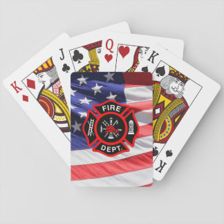 Maltese Cross USA Flag Gift for Firefighters Playing Cards