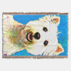 Maltese Pop Art Watercolor Portrait Throw Blanket