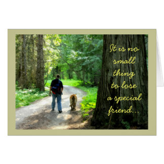 Man and Dog Walking in Forest, Pet Loss Sympathy Card