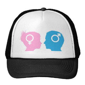 Man and woman heads talking trucker hat