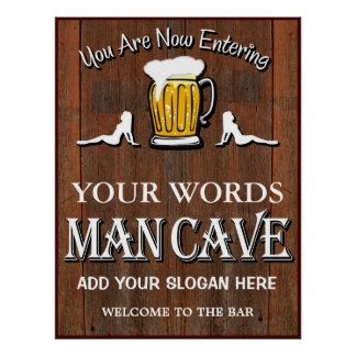 Man Cave Custom Bar Sign Poster