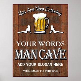 Man Cave Custom Bar Sign Poster