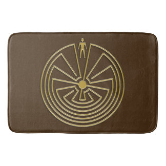 MAN IN THE MAZE gold + your background Bath Mat