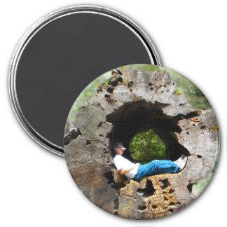 Man in Tree 3 Inch Round Magnet