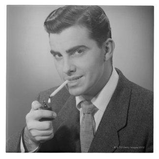Man Lighting Cigarette Tile