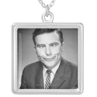 Man Making Face Silver Plated Necklace