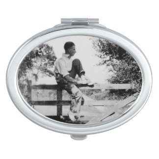 Man On Gate Old Image Oval Compact Mirror