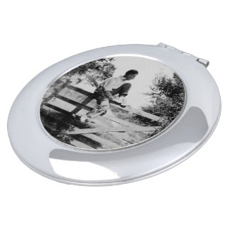 Man On Gate Old Image Round Compact Mirror
