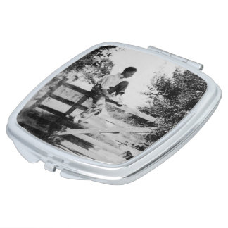 Man On Gate Old Image Square Compact Mirror