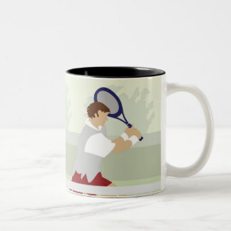Man playing tennis 2 Two-Tone coffee mug