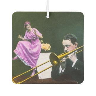 Man plays trombone Flapper  dances on table
