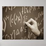 Man printing math equations on a chalkboard print
